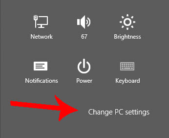 Windows 8 change pc settings