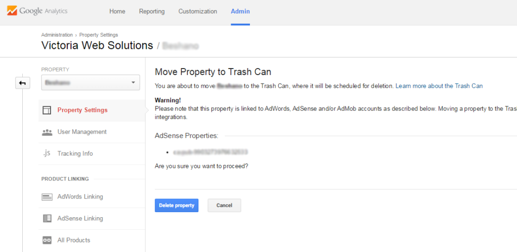 Google Analytics move to trash prompt