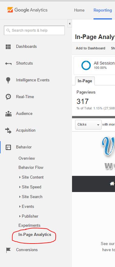 Google Analytics in-Page Analytics