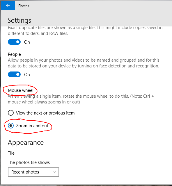Change Photo Settings to zoom with mouse wheel